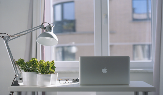 Laptop, plants, eye glasses, and white lampshade placed on an office desk near the window